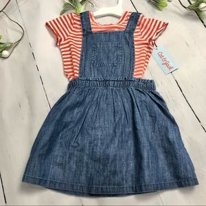 Cat & Jack - Girls Jean Dress with Red/White Shirt